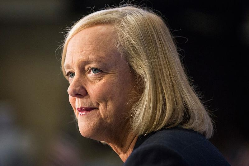 Meg Whitman, CEO of Hewlett Packard, gives a television interview on the floor of the New York Stock Exchange after ringing the opening bell on Nov. 2, 2015 in New York City. (Andrew Burton/Getty Images)