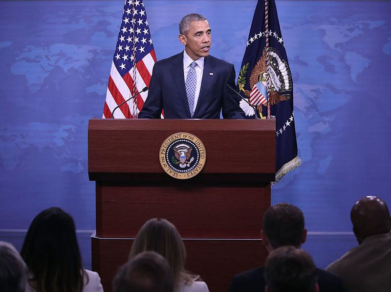 President Obama speaks to the media after a meeting with Secretary of Defense Ashton Carter and members of the Joint Chiefs of Staff at the Pentagon on Thursday in Arlington, Va.