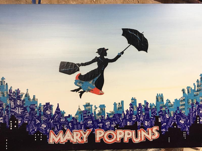 """""""Mary POPpuns."""" Tootsie Pop, Tootsie Roll Frooties and Dum Dum wrappers with acrylic and ink on wood. 2016."""