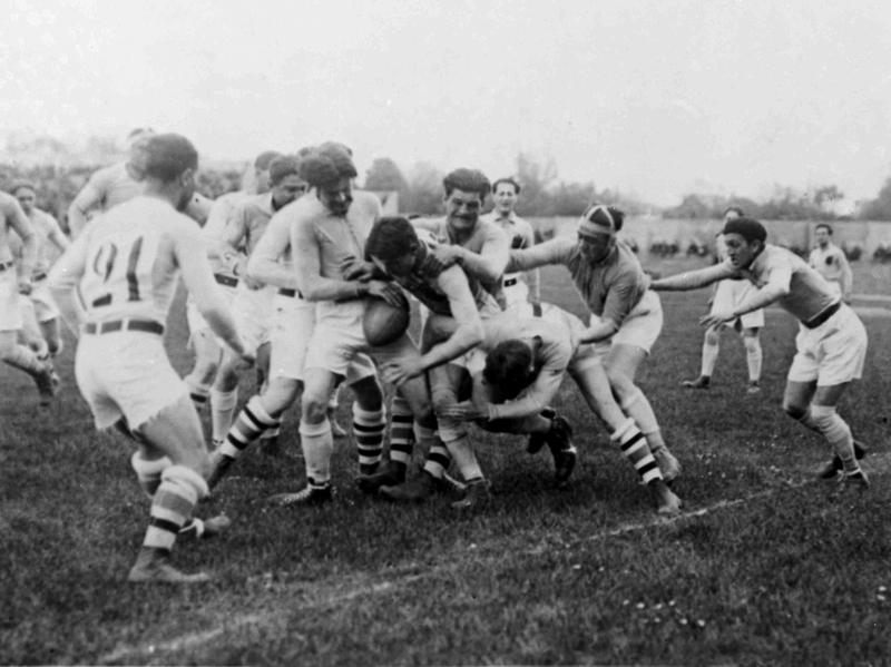 The U.S. and Romanian rugby teams battle during the 1924 Olympics in Paris. The U.S. won the gold, defeating the heavily favored French. After that, rugby was tossed out of the Olympics for 92 years, returning just this year in Rio.