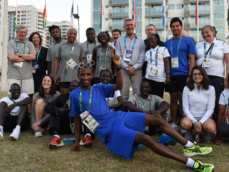 Members of the Refugee Olympic Team have their picture taken with United Nations High Commissioner for Refugees Filippo Grandi and UNHCR staff inside the Olympic Village. For the first time in Olympic history, the International Olympic Committee has created a team comprised of refugees competing as the Refugee Olympic Team.