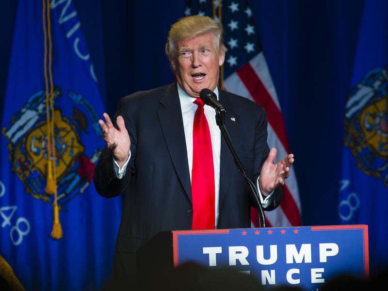 Republican presidential nominee Donald Trump speaks at a rally in Green Bay, Wis., on Friday.