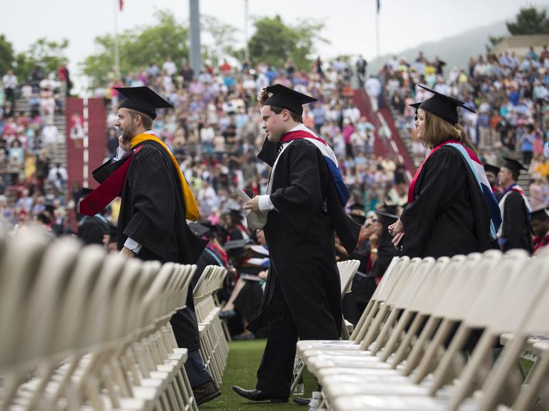 Graduates arrive at the start of their commencement ceremony on the campus of Liberty University in Lynchburg, Va., in 2015.
