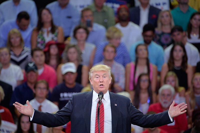 Republican presidential candidate Donald Trump addresses the audience during a campaign event at Trask Coliseum on Aug. 9, 2016 in Wilmington, North Carolina. (Sara D. Davis/Getty Images)