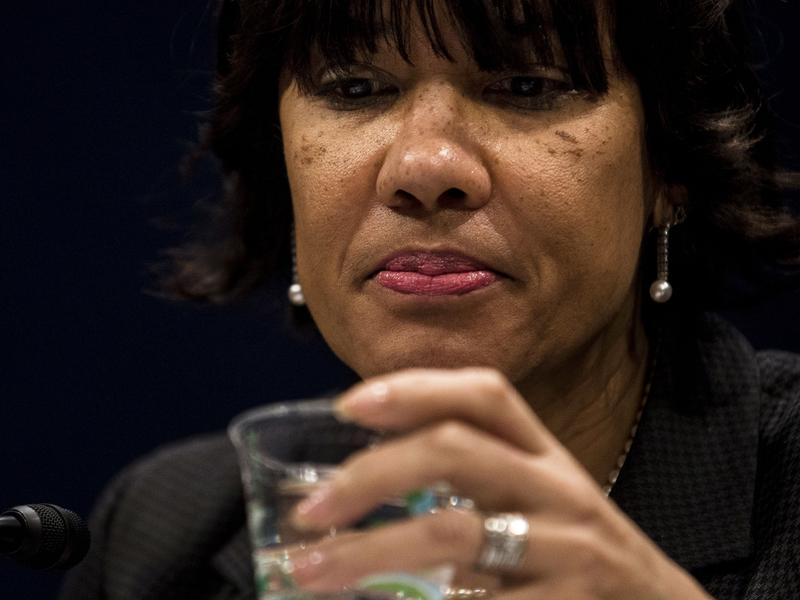 """Mayor Karen Weaver takes a sip of water at the House Democratic Steering & Policy Committee hearing titled, """"The Flint Water Crisis: Lessons for Protecting America's Children."""""""