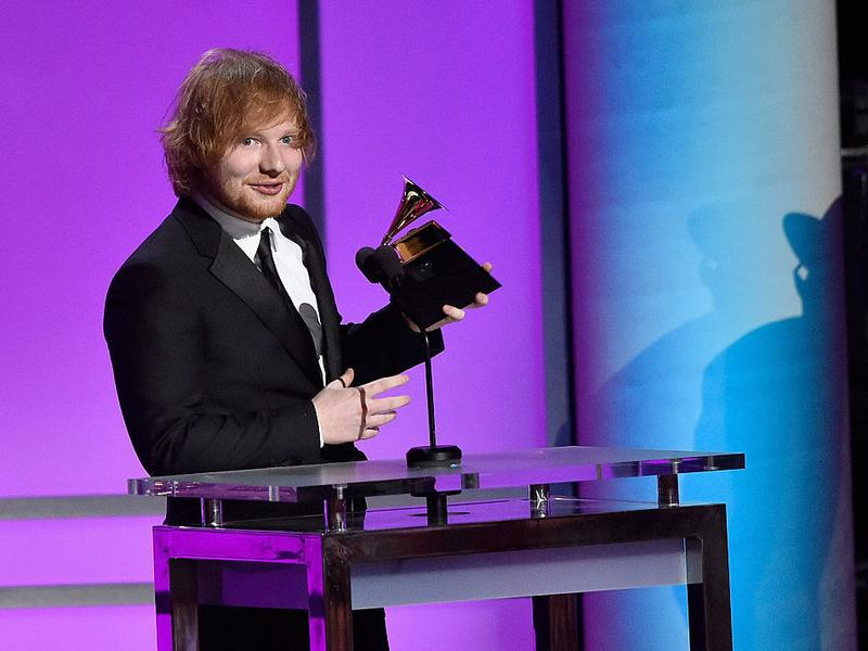 """Singer-songwriter Ed Sheeran accepting the Grammy for Best Pop Solo Performance for """"Thinking Out Loud"""" in February 2016."""