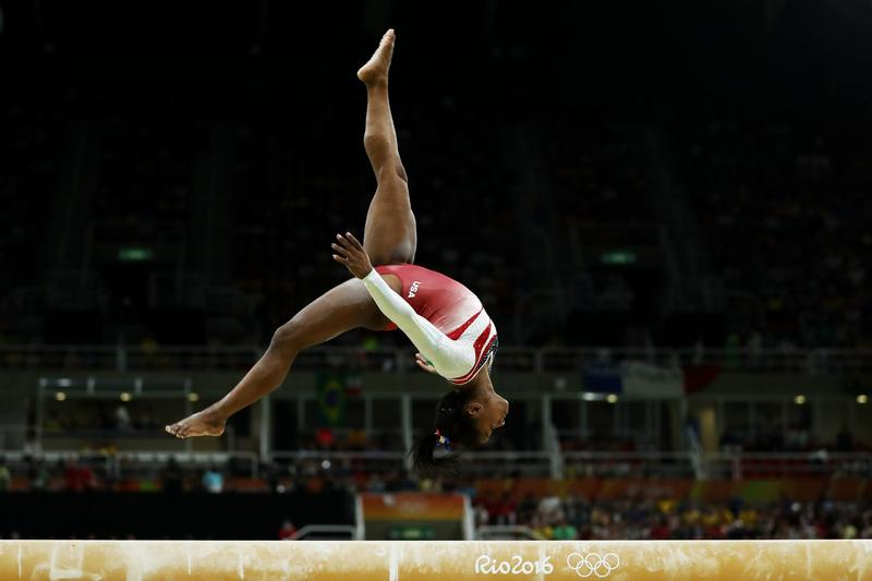 Simone Biles of the United States competes on the balance beam at the Rio 2016 Olympic Games on Aug. 9, 2016 in Rio de Janeiro, Brazil. (Lars Baron/Getty Images)
