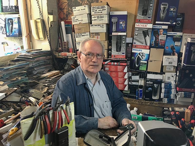 Jacques Guillaume, 73, has been repairing electric razors in Paris since 1962.