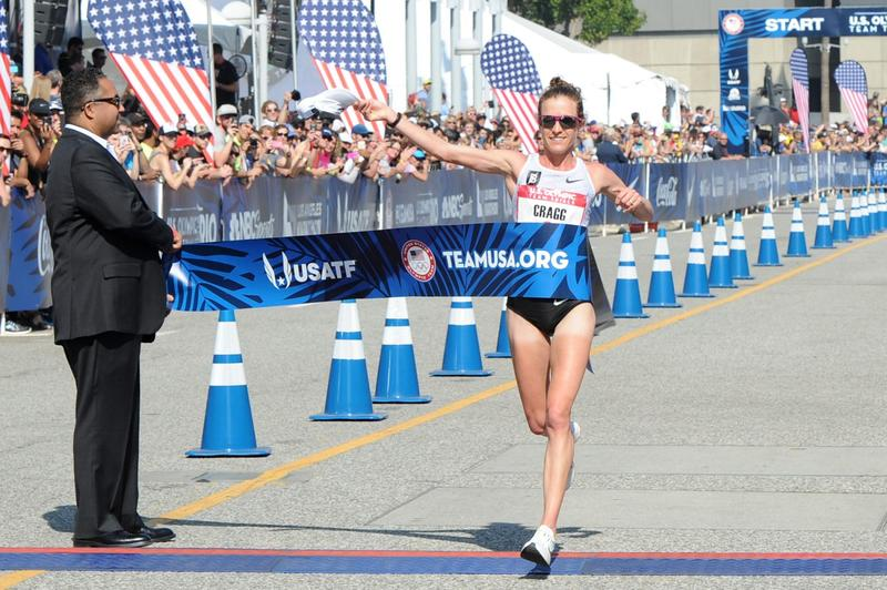 Amy Cragg finishes first at the U.S. Olympic Team Trials Women's Marathon on Feb. 13, 2016 in Los Angeles, California. (Joshua Blanchard/Getty Images)