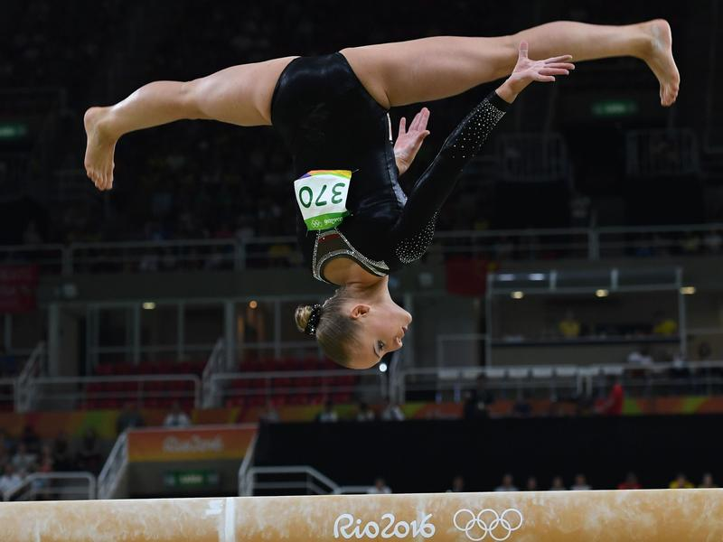Sanne Wevers of the Netherlands won gold in the balance beam Monday, turning in a poised routine after several other gymnasts had notable wobbles.