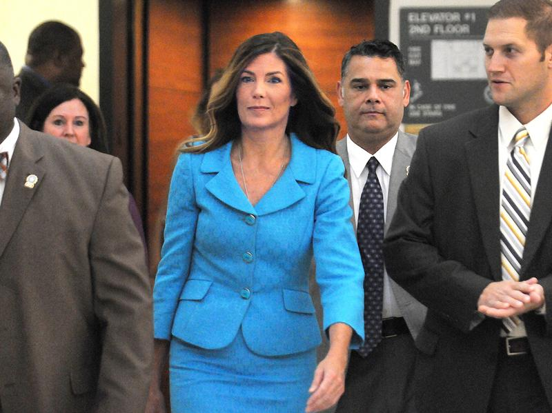Pennsylvania Attorney General Kathleen Kane enters the courtroom on Aug. 11. A jury has convicted her of leaking grand jury information and lying about it under oath.