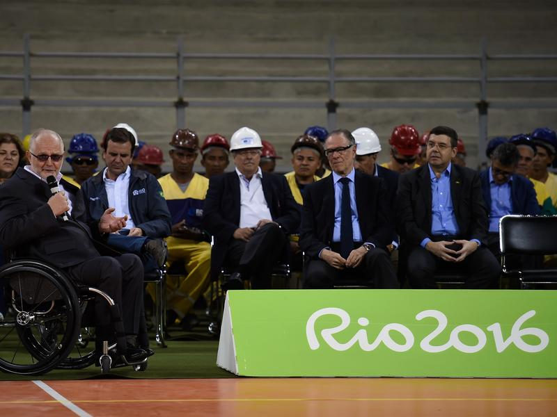 Philip Craven, president of the International Paralympic Committee, speaks during a presentation last year of the Rio 2016 Olympic Handball and Rio 2016 Paralympic Goalball venue in Rio de Janeiro.