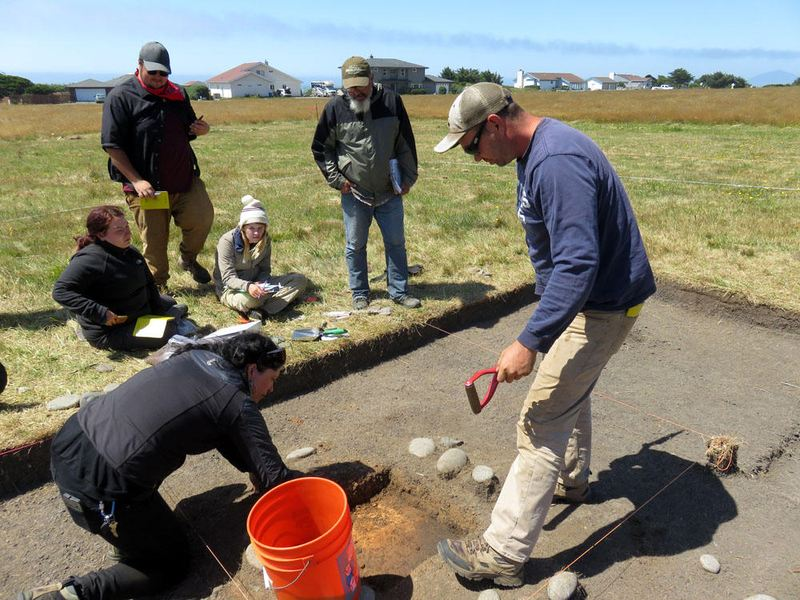 Southern Oregon University archaeology field school participants unearthed the remains of Miner's Fort in Curry County. The pioneer militia redoubt was besieged near the end of the Rogue River Indian War in 1856. (Tom Banse/Northwest News Network)