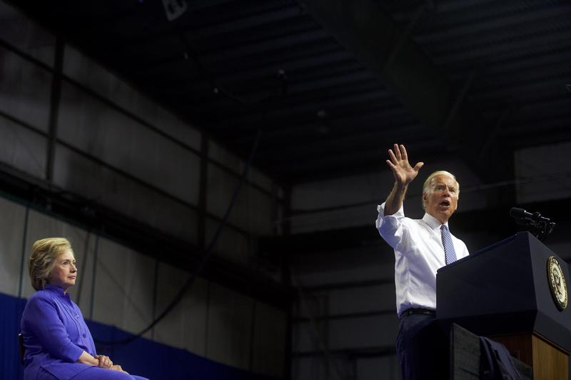 Vice President Joe Biden speaks at a rally with Hillary Clinton in Scranton, Pennsylvania, on Monday. (Mark Makela/Getty Images)