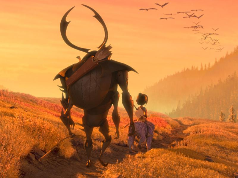 Beetle (Matthew McConaughey), Kubo (Art Parkinson) and Monkey (Charlize Theron) set off on a promising path in the animated adventure <em>Kubo and the Two Strings.</em>