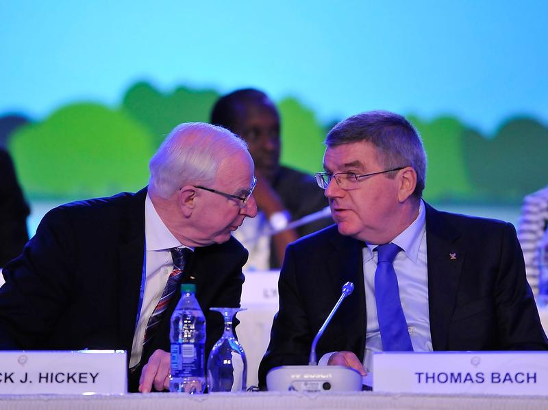 Patrick Hickey (left) was arrested in Rio on Wednesday; he's seen here with IOC President Thomas Bach at meetings held last October.