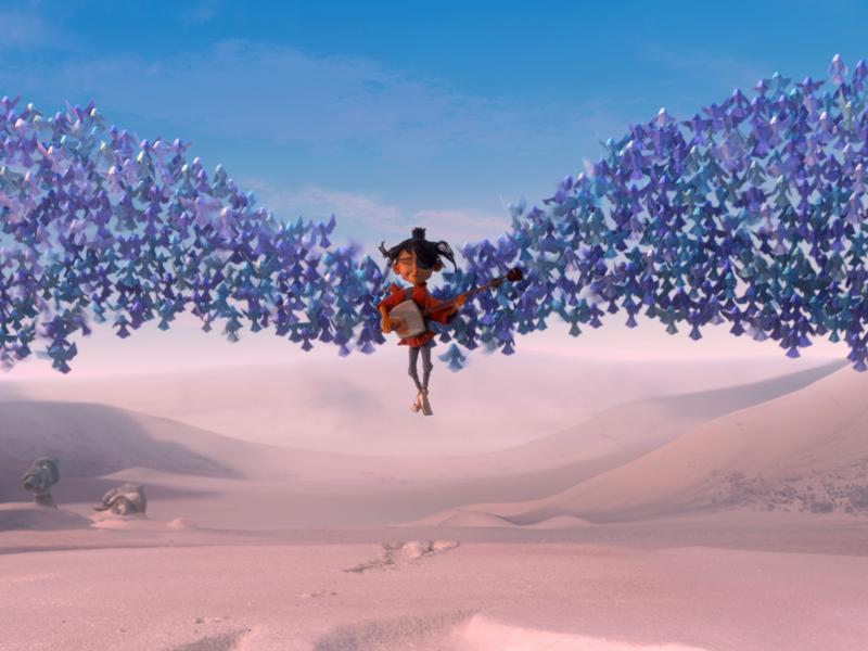 Kubo is swept up by origami wings in the new film, <em>Kubo and the Two Strings,</em> an action-adventure, stop-motion animation by Laika studios.
