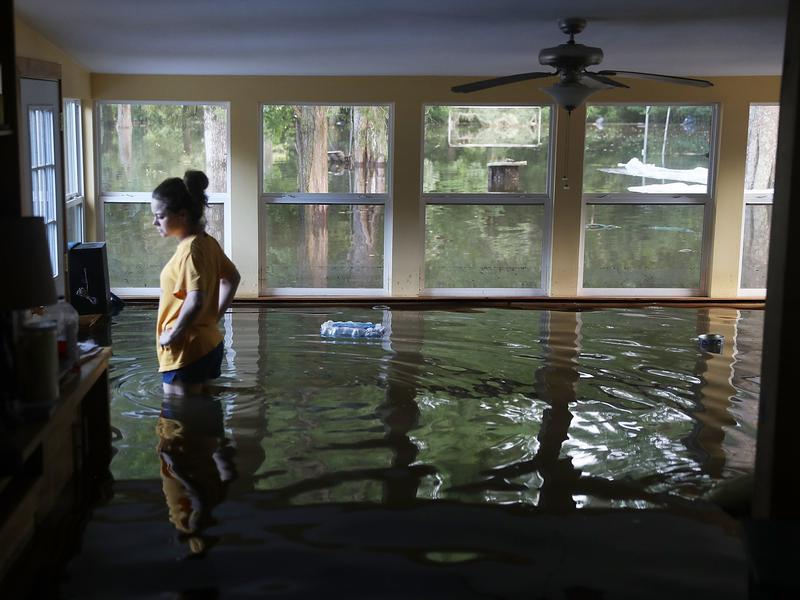 Leslie Andermann Gallagher surveys the flood damage to her home in Sorrento, La., on Wednesday.
