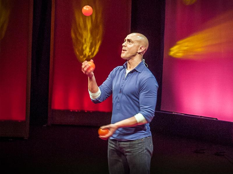 Andy Puddicombe on the TED stage.