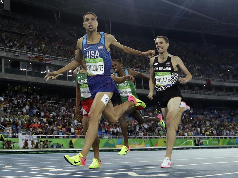 American Matt Centrowitz crosses the line to win gold in the men's 1,500 meters in Rio on Saturday night. He was the first American man to win the event since 1908.