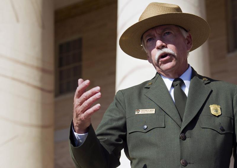 National Park Service Director Jonathan Jarvis speaks at the historical Arlington House at Arlington National Cemetery in Arlington, Virginia. (Cliff Owen/AP)