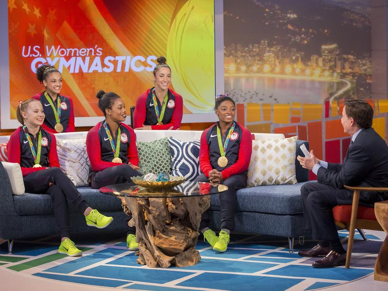 NBC's Bob Costas interviews the gold-medal winning U.S. gymnastics team in Rio on Aug. 9: Madison Kocian (from left), Laurie Hernandez, Gabby Douglas, Aly Raisman, Simone Biles. NBC broadcast more than 6,000 hours from the games on various platforms, but TV ratings were down from the 2012 London Games.