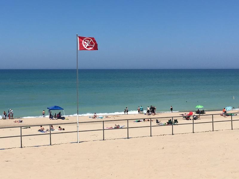 A red flag flies over Warren Dunes beach in western Michigan, warning visitors of a high risk of drowning. Like many Great Lakes beaches, Warren Dunes has no lifeguards on duty.