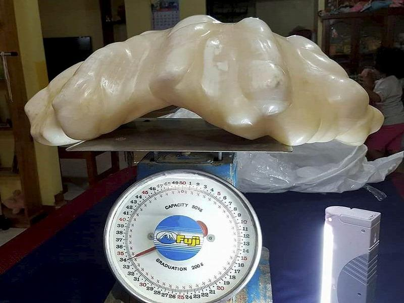 This giant pearl could be the biggest ever found in the world. The pearl reportedly weighs about 75 pounds and was discovered by a fisherman 10 years ago.