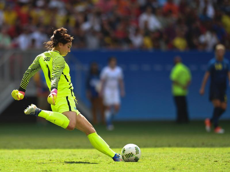 U.S. goalkeeper Hope Solo prepares to kick the ball during the Olympic quarterfinals Aug. 12 against Sweden in Brasilia, Brazil. After the Americans lost the match on penalty kicks, Solo described the Swedes as cowards. On Wednesday, U.S. soccer suspended her for those remarks.
