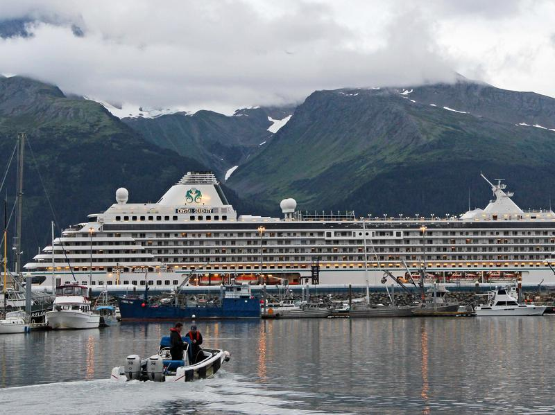 The Crystal Serenity, pictured here in Seward, Alaska, is the largest cruise ship to traverse the Northwest Passage, traveling from Alaska to New York City.
