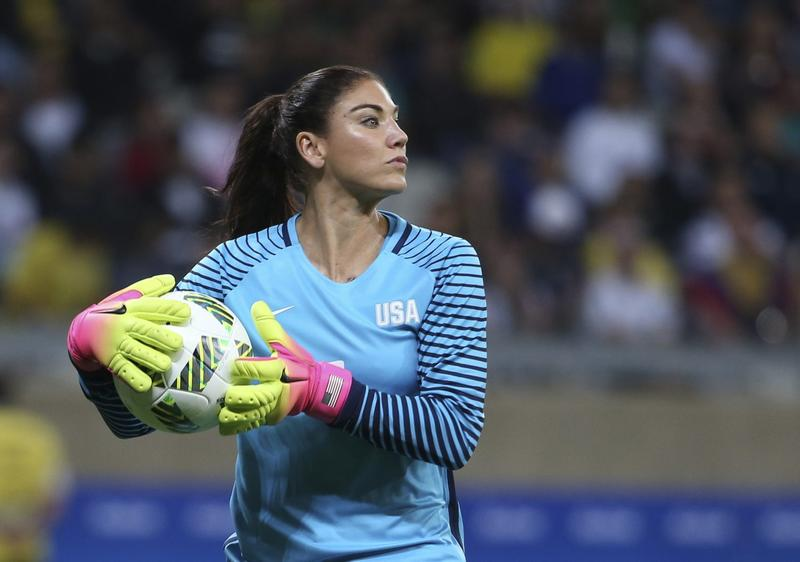 U.S. goalkeeper Hope Solo during a women's Olympic football tournament match against New Zealand.  (Eugenio Savio/AP)