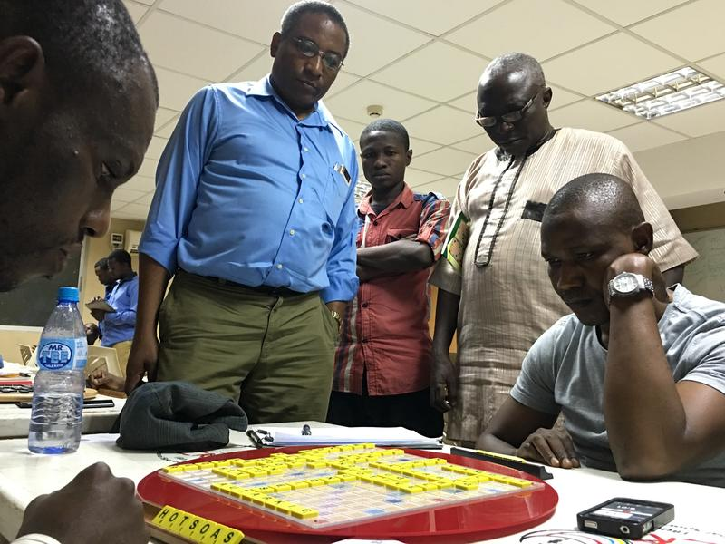 "World Scrabble champion Wellington Jighere, 33, (right) is one of Nigeria's many masters. His strategy: ""When you are expecting me to do the traditional thing, I will just choose to do something that is uncharacteristic."""