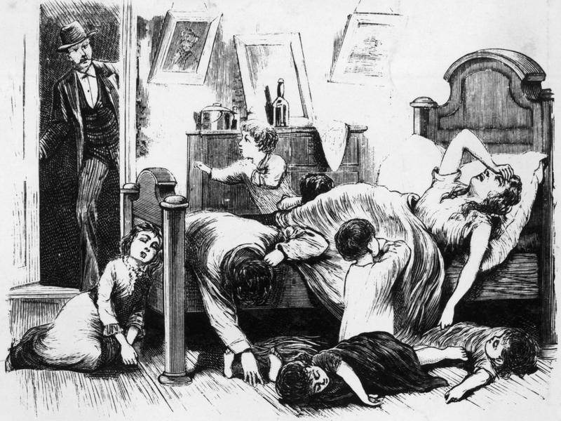 """This illustration depicts a yellow fever victim in a Jefferson Street home in Memphis. It's from a series of images entitled """"The Great Yellow Fever Scourge — Incidents Of Its Horrors In The Most Fatal District Of The Southern States."""""""