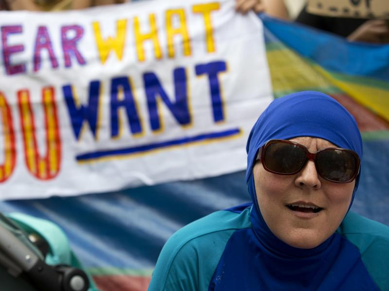 "Burkini bans in France have sparked international outrage. In London, people recently held a ""Wear what you want beach party"" outside France's embassy."