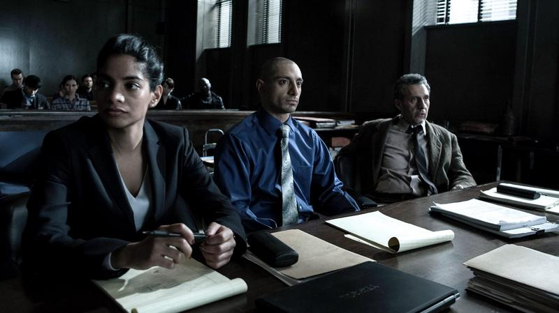 """Actors (left to right) Amara Karan, Riz Ahmed and John Turturro in a still from the HBO mini-series """"The Night Of."""" (Courtesy HBO)"""