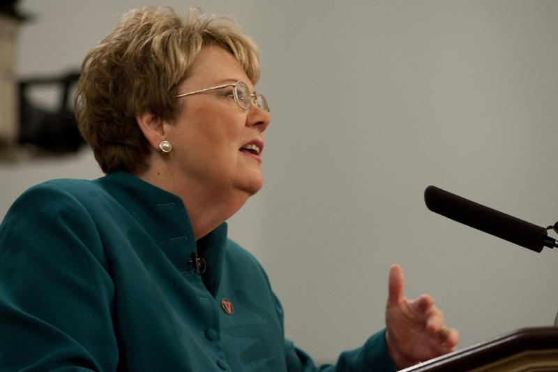 University of Virginia President Teresa Miller speaks at an event on May 4, 2012. (Miller_Center/Flickr)