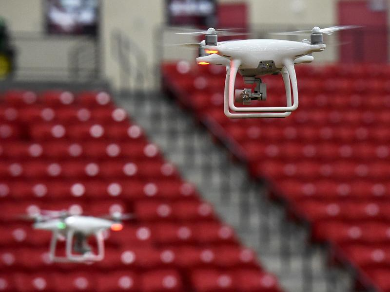 Drones are flown at a training class in Las Vegas in anticipation of new regulations allowing their commercial use.