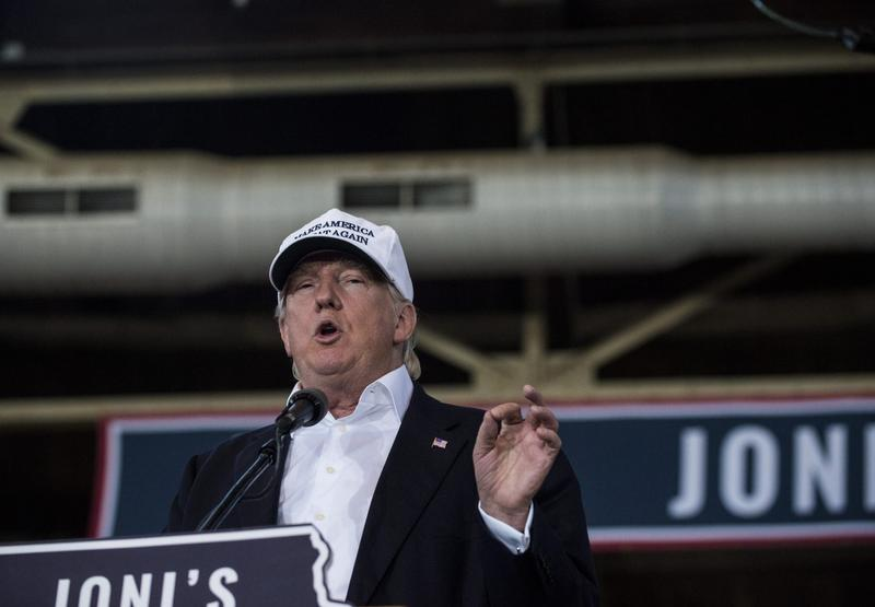 Republican presidential nominee Donald Trump speaks at the 2nd annual Joni Ernst Roast and Ride event on Aug. 27, 2016 in Des Moines, Iowa. (Stephen Maturen/Getty Images)