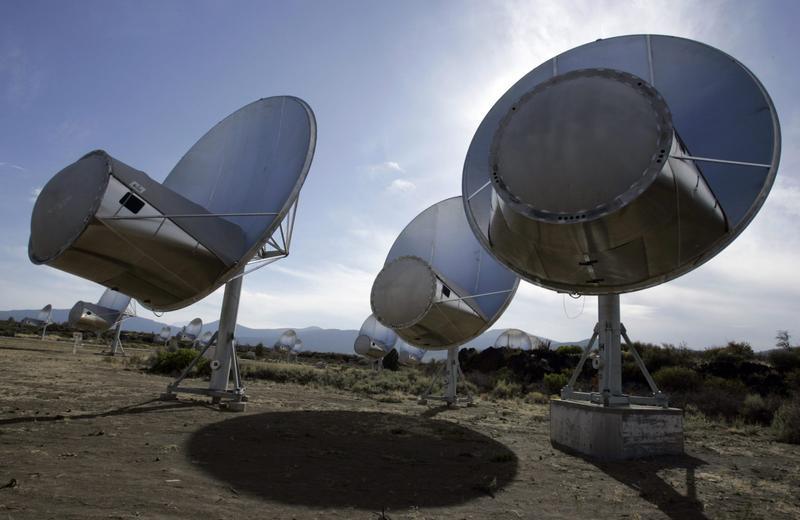 Radio telescopes of the Allen Telescope Array are seen in Hat Creek, California. (Ben Margot/AP)
