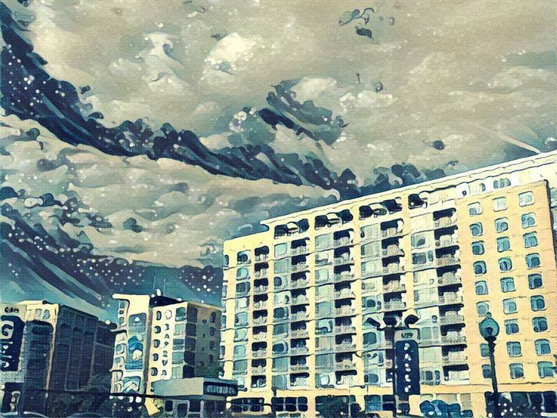 "A photo of apartment buildings near NPR headquarters in Washington, D.C., that was run through the Prisma app's ""wave"" filter."