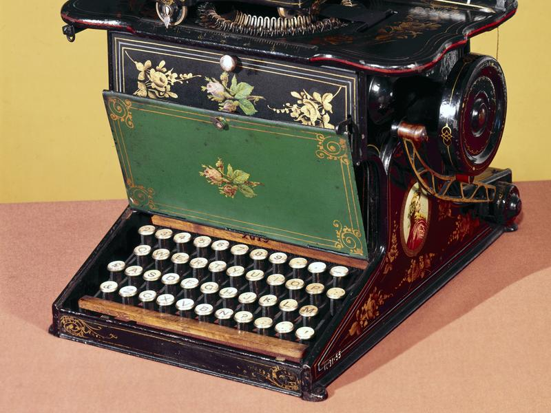 An early version of the QWERTY keyboard appears on this late 1870s typewriter.