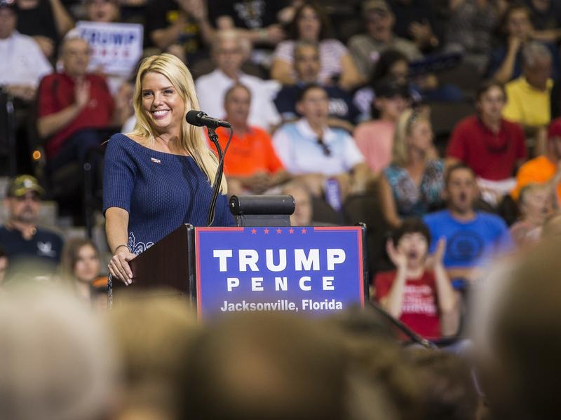 Florida Attorney General Pam Bondi speaks prior to Republican presidential nominee Donald Trump arriving onstage for a rally in Jacksonville, Fla., last month.