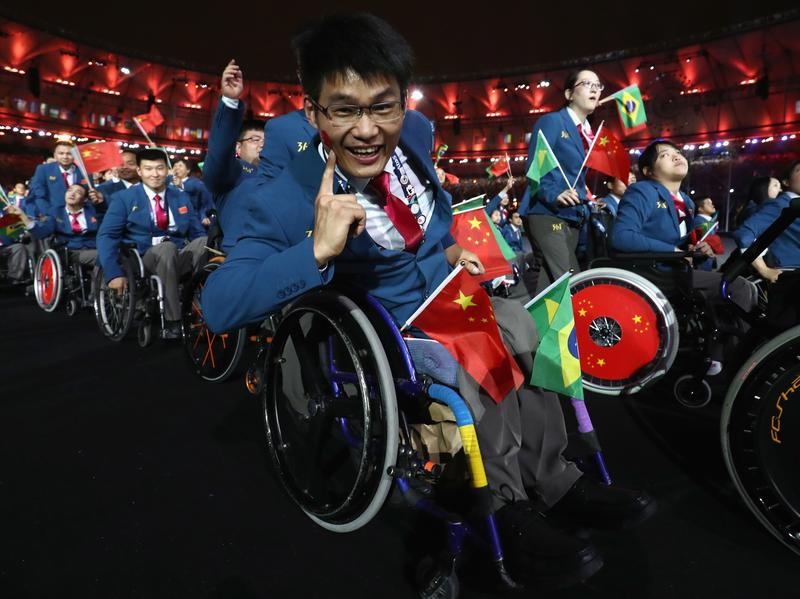 The China team enters the stadium during the Opening Ceremony of the 2016 Paralympic Games at Maracana Stadium in Rio de Janeiro. The games feature more than 4,300 athletes from 161 countries.