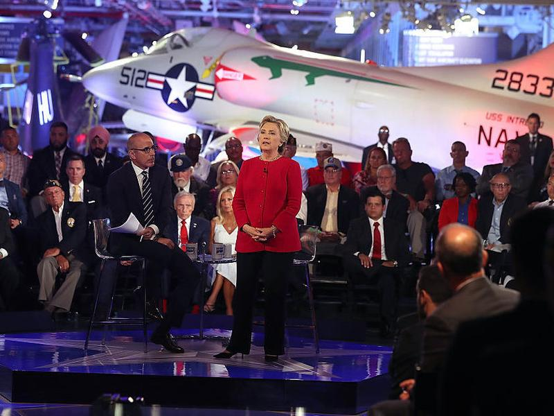 Democratic presidential nominee Hillary Clinton speaks during the Commander-in-Chief Forum in New York City on Wednesday evening.