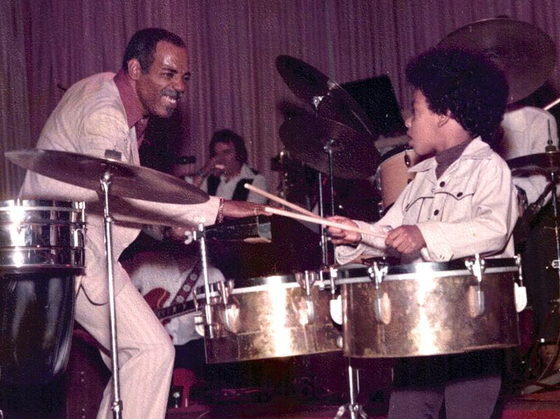 Percussionist Willie Bobo (left) with son Eric Bobo.