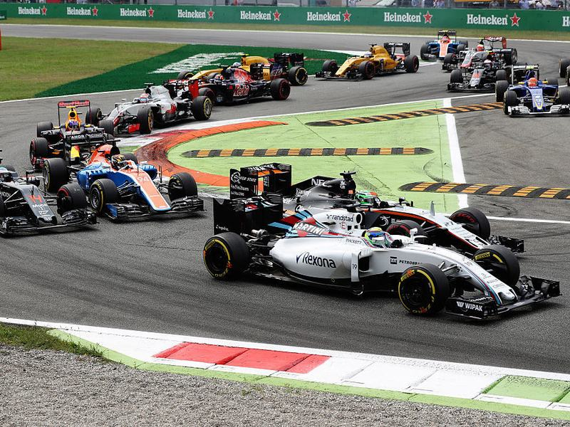 Drivers battle for position at the start of the Formula One Grand Prix of Italy at Autodromo di Monza on Sunday in Monza, Italy.