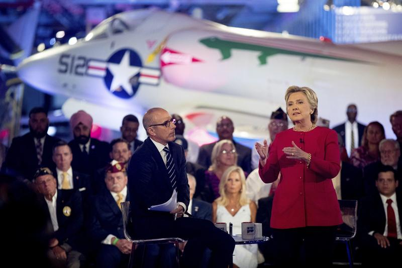 "Democratic presidential candidate Hillary Clinton, with ""Today"" show co-anchor Matt Lauer, left, speaks at the NBC Commander-In-Chief Forum held at the Intrepid Sea, Air and Space museum in New York on Wednesday, Sept. 7, 2016. (Andrew Harnik/AP)"