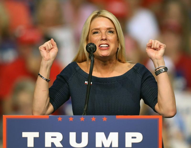 Florida Attorney General Pam Bondi speaks before the arrival of Republican presidential nominee Donald Trump during his campaign event at the Ocean Center Convention Center on Aug. 3, 2016 in Daytona, Florida. (Joe Raedle/Getty Images)