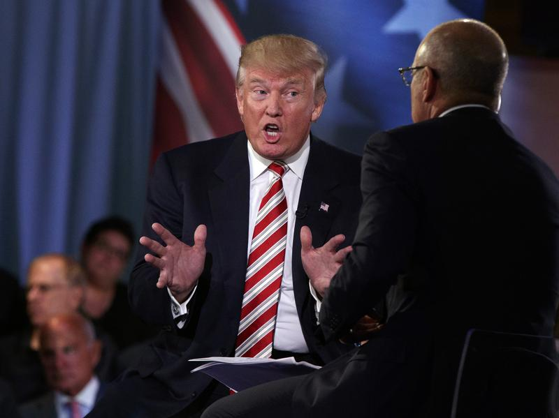 """Republican presidential candidate Donald Trump speaks with """"Today"""" show co-anchor Matt Lauer at the NBC Commander-In-Chief Forum held at the Intrepid Sea, Air and Space museum aboard the decommissioned aircraft carrier Intrepid on Wednesday."""