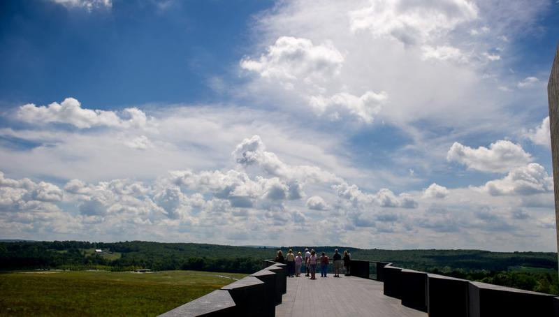 Visitors look over the flight path of Flight 93 at the Flight 93 National Memorial in Shanksville, Penn., on Aug. 19, 2016. (Jeff Swensen/Getty Images)